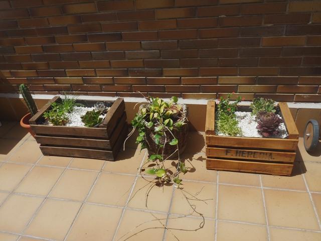 Una terraza con palets y cajas de frutas paperblog for Mesa con cajas de fruta