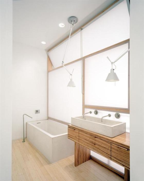 Baños en blanco y madera - Paperblog