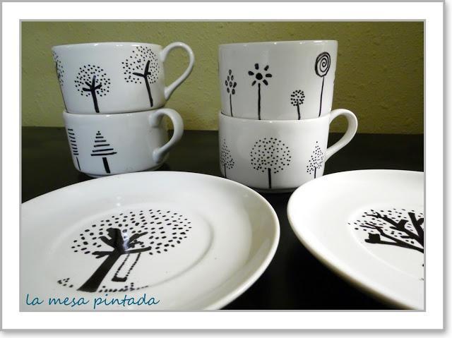 Pintando tazas paperblog - Como decorar una taza ...