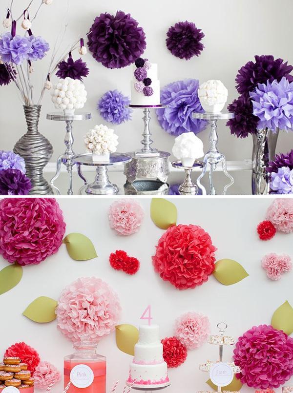C mo decorar fiestas con pompones de papel paperblog - Decorar con papel ...