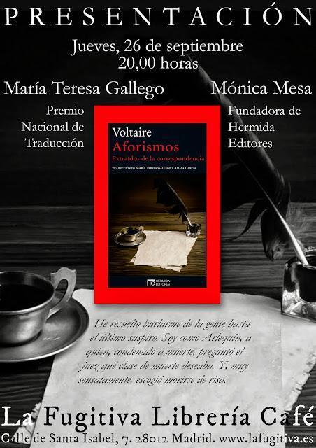 Presentación del libro Aforismos de Voltaire en La fugitiva
