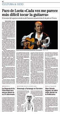 Paco de Lucía: «Cada vez me parece más difícil tocar la guitarra»