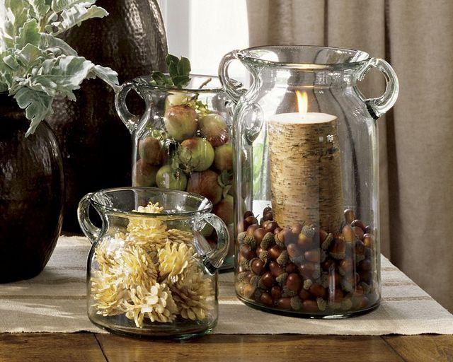 Centros de mesa para el oto o con frutas y elementos de la naturaleza paperblog - Jarrones rusticos ...