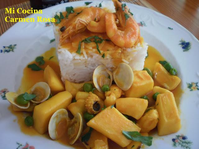 Cazuela de jibia con almejas y langostinos paperblog for Como cocinar almejas