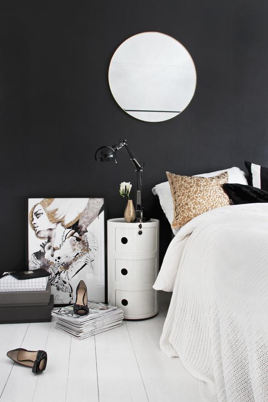 Negro blanco y dorado para un dormitorio de dise o for Diseno de dormitorio blanco