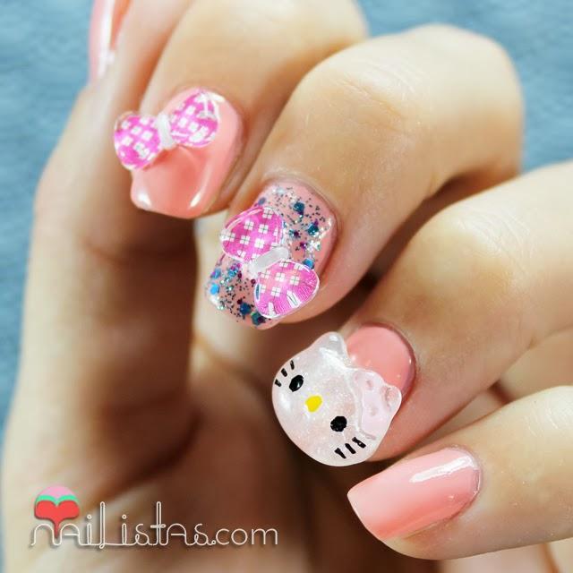 Uñas Decoradas Con Hello Kitty En 3d Paperblog