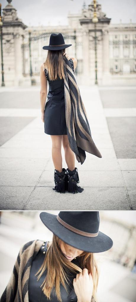 street style barbara crespo c&a perfect poncho royal palace madrid sendra boots christys hat