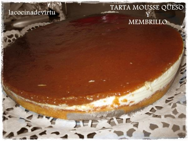 Tarta Mousse de queso y menbrillo