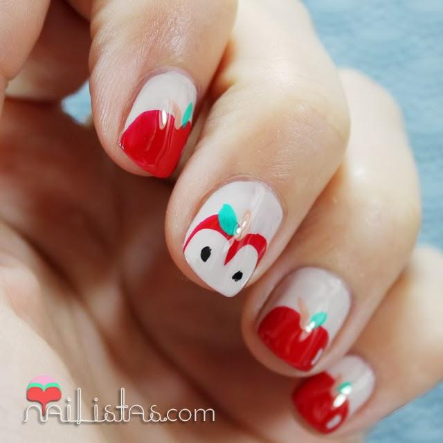 nail art de frutas u as decoradas con manzanas rojas paperblog. Black Bedroom Furniture Sets. Home Design Ideas
