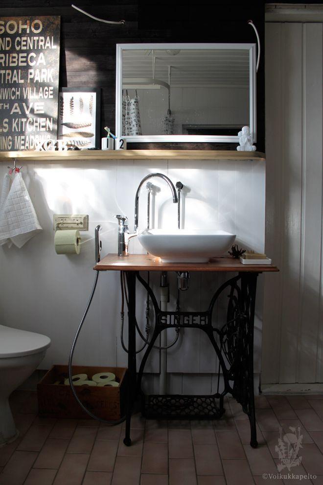decorar lavabo con pie : decorar lavabo con pie:Reutilizar mesas de máquinas de coser antiguas – Paperblog