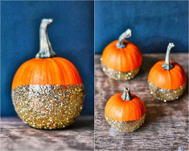 Diy calabazas pintadas con purpurina paperblog - Calabazas de halloween pintadas ...