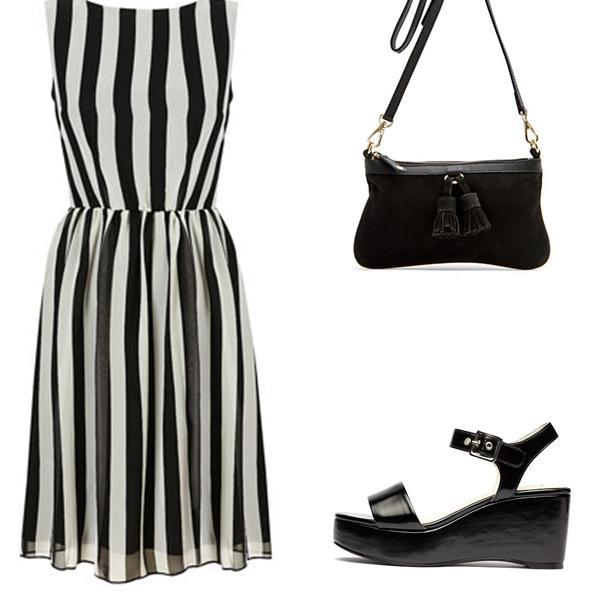 Sandalias para vestido blanco y negro