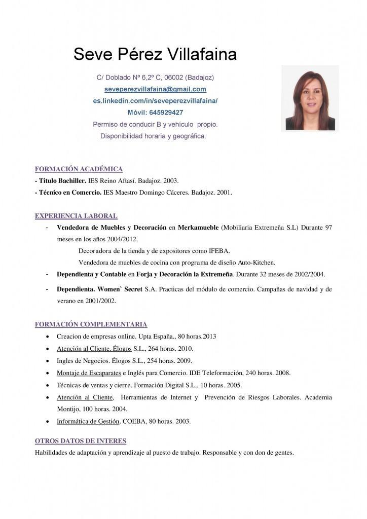 Modelo de cv corto para ventas y mercadeo paperblog - La chambre des officiers resume detaille ...