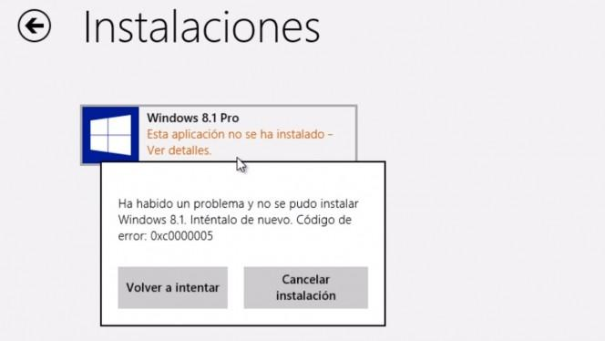 Como solucionar el error 0xc0000005 al actualizar a Windows 8.1