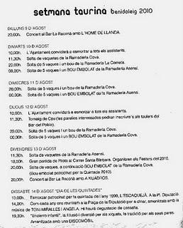 Benidoleig. Fiestas Patronales y Semana Taurina 2010