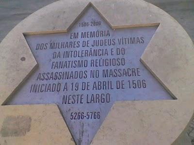 Commemorative plaque of the massacre of 4000 Jewish in Lisbon in 1506.