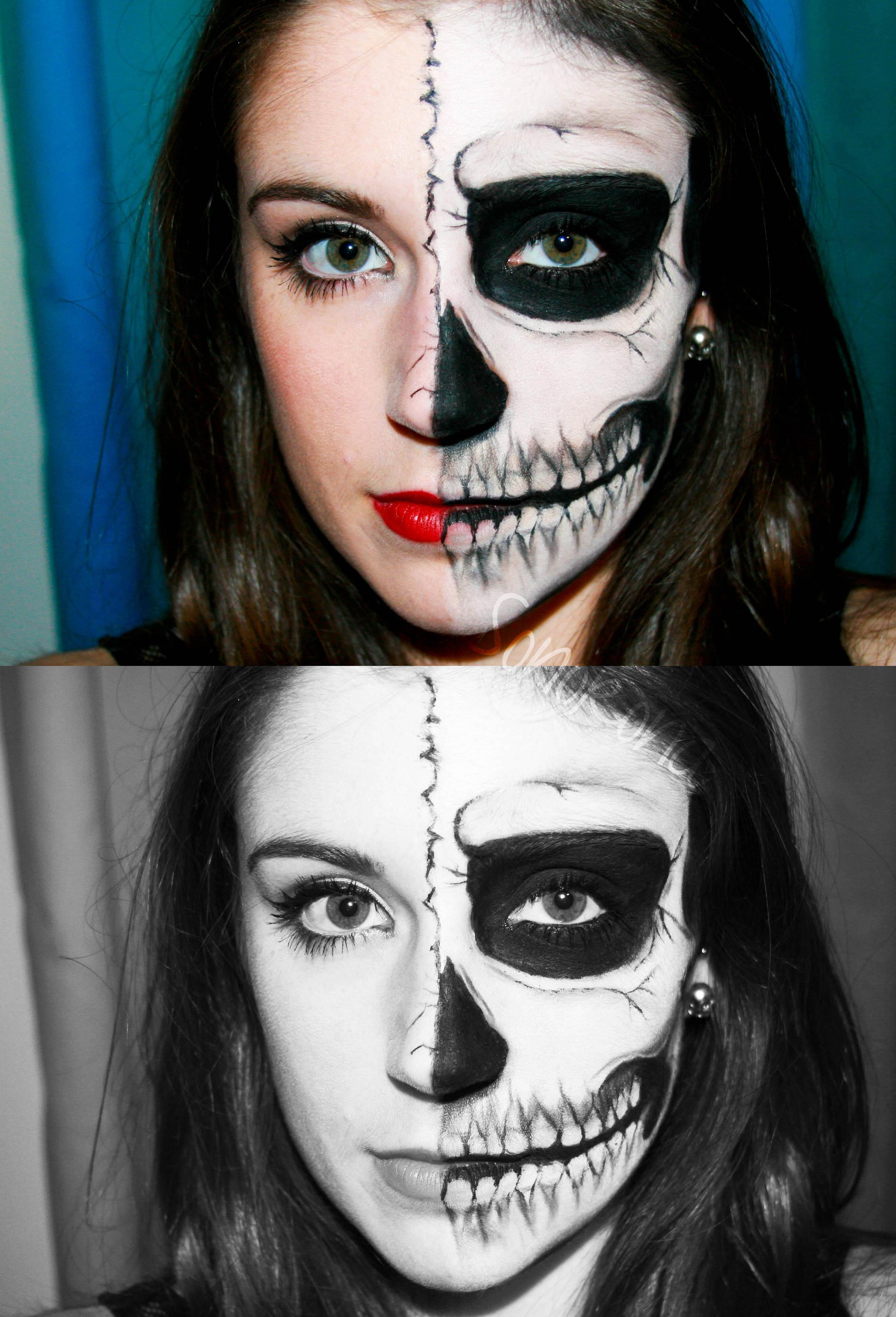 Halloween en uk half skull paperblog for Caras pintadas para halloween