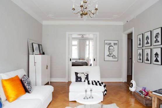 Decoracion En Paredes Grises ~ Paredes grises muebles blancos suelo de madera interiores pisos