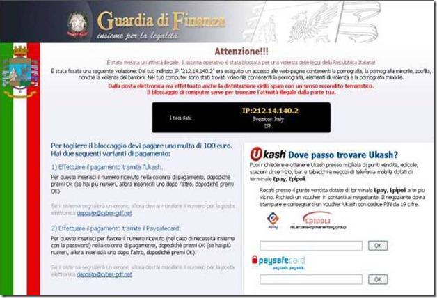 Virus de la policia bloquea tu ordenador de Italia