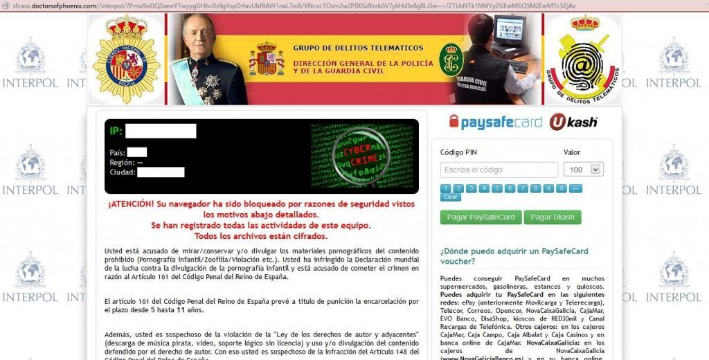 Supuesta página de la policía y de la Guardia Civil en la que me avisan de que he cometido un delito informático y me bloquean el navegador.