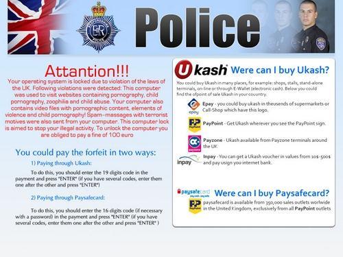 Virus de la policia bloquea tu navegador de Gran Bretaña