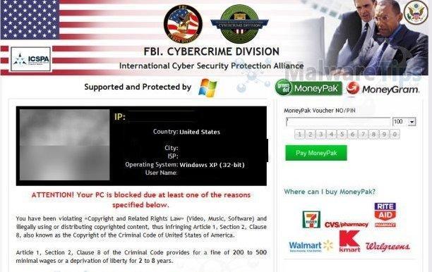 Virus de la policía bloquea tu navegador de Estados Unidos