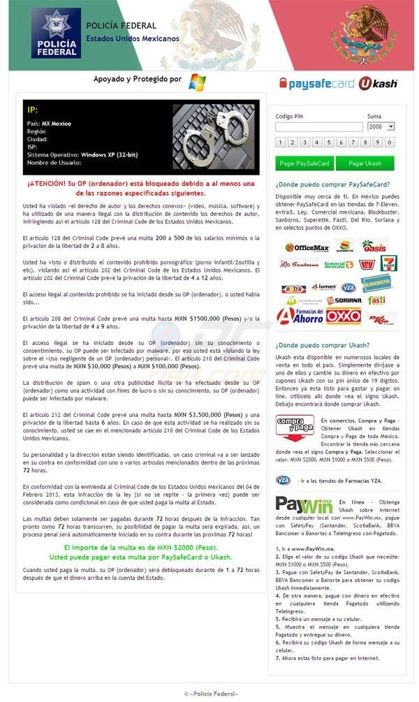 Virus de la polica bloque tu navegador de México