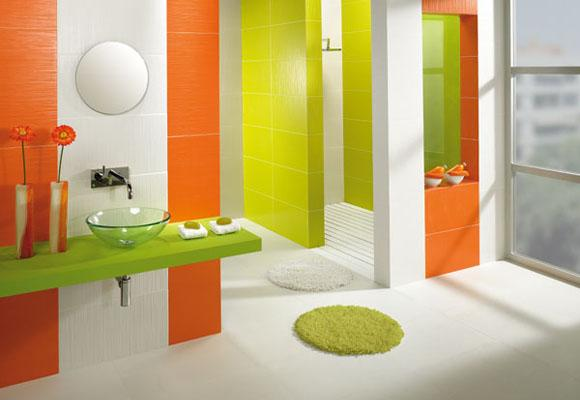 Lindos ba os en verde y naranja paperblog for Colores de granito para banos