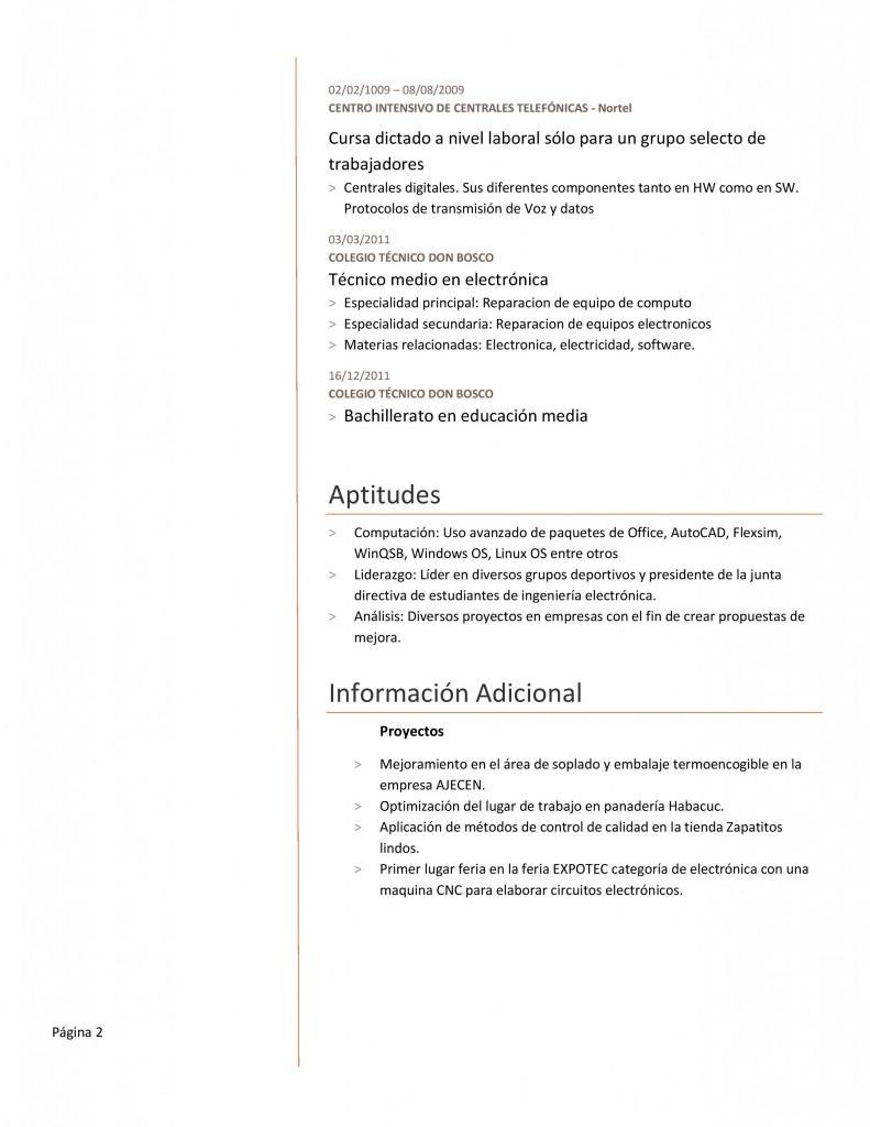 Plantilla de currículum para ingeniería en electrónica - Paperblog