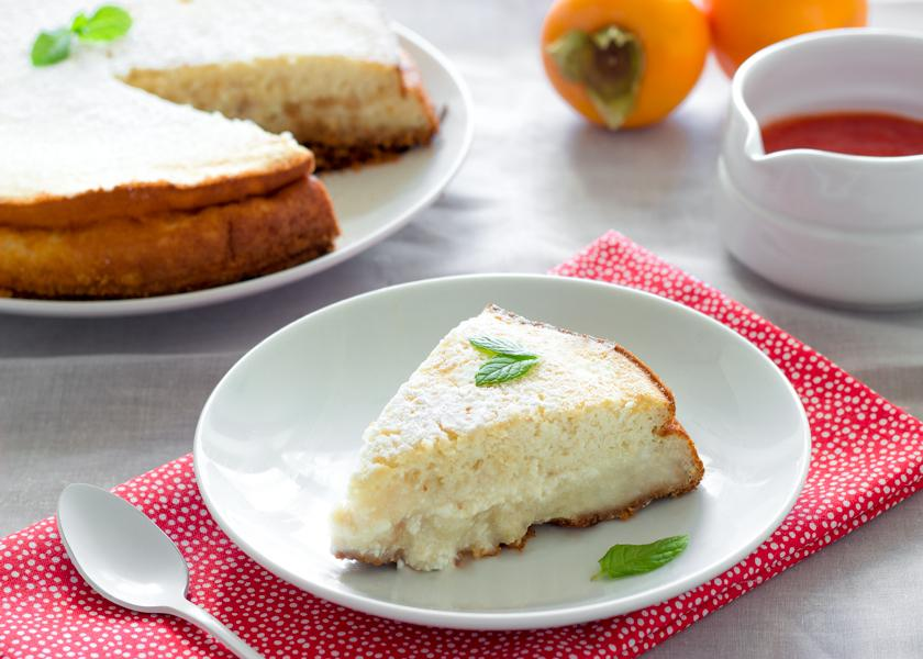 Cottage cheese cake with persimmons, Pastel de requesón con caquis Monsabor-2
