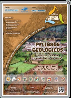 NO FALTA NADA PARA EL FORO INTERNACIONAL DE PELIGROS GEOLÓGICOS EN AREQUIPA-PERÚ