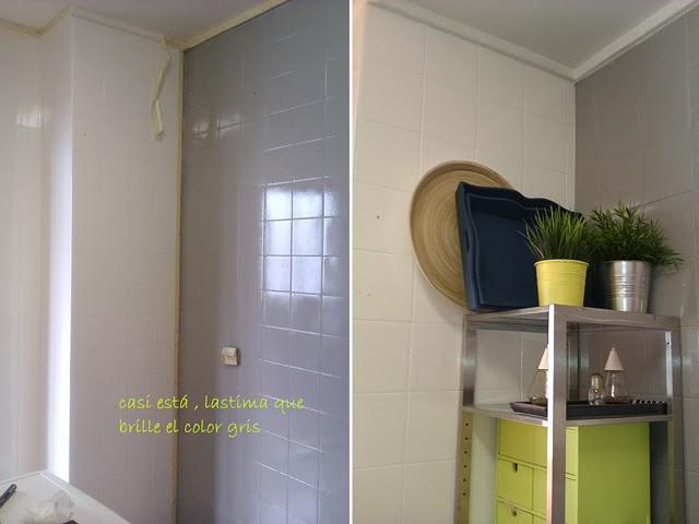 Antes y despu s la cocina de patricia despu s de pintar los azulejos paperblog - Pintar azulejos de bano antes y despues ...