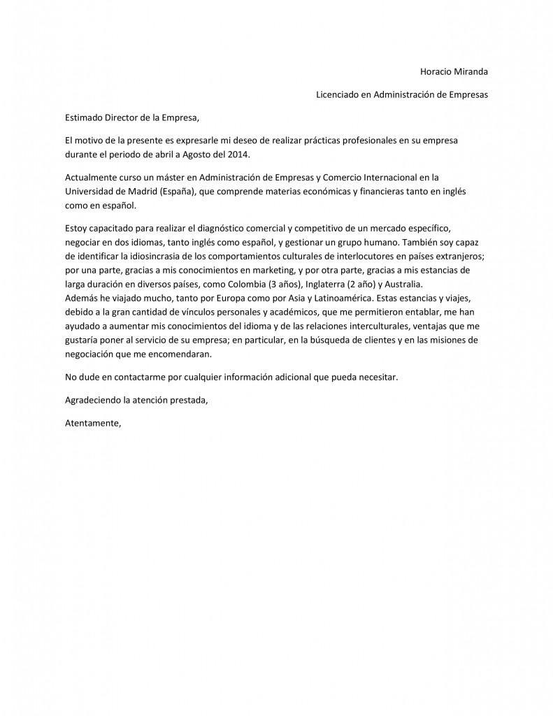 Plantilla de carta de presentación que acompañará al currículum ...