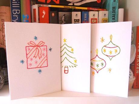 Postales de Navidad Xmas cartulina bordada carton