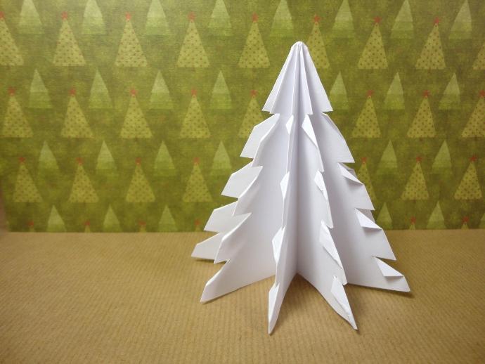 Prepara un rbol de navidad con un cuadrado de papel - Arbol de navidad con papel ...