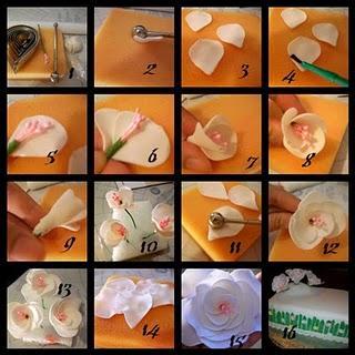 Como hacer rosas con pistilos y flores  de hortensia en pasta de goma