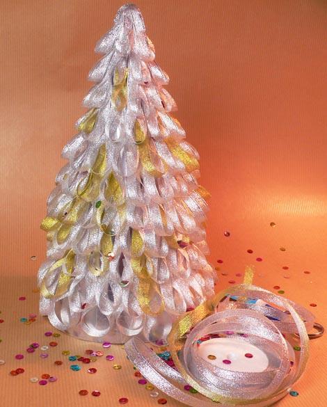 Decoraci n de navidad rbol de navidad con cintas de raso - Cinta arbol navidad ...