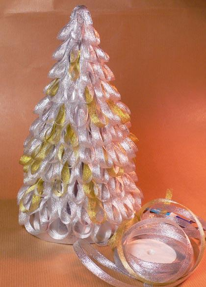 rbol de navidad con cintas de organza para decorar la navidad