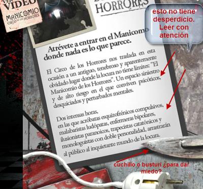 """Tira los Muros del """"Circo y su Manicomio de los Horrores"""""""