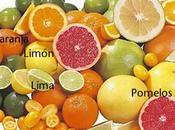 Frutas naranja, limón cítricos