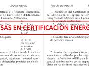 Tasas certificación energética
