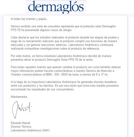 PELIGRO: Varios casos de alergia en protector solar de DERMAGLOS FPS70