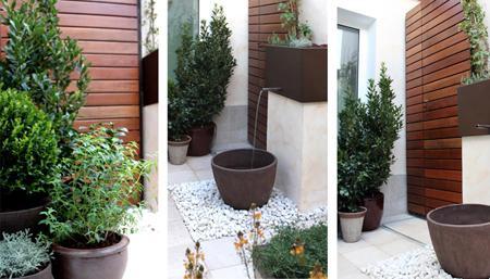 Un jardin de dise o con fuente bougavilla paperblog - Fuentes modernas para jardin ...