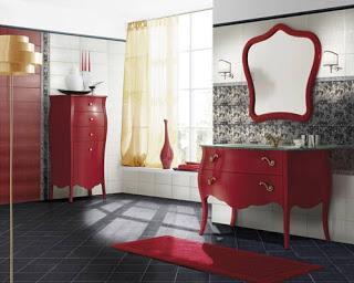 11 hermosos ba os en color rojo paperblog for Accesorios bano rojo