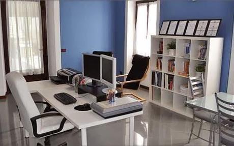 oficina paredes azules
