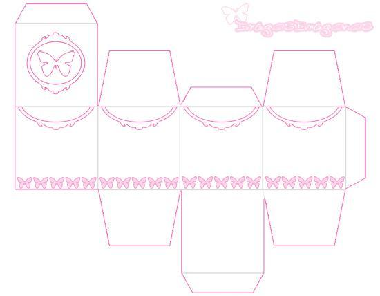 Esta caja con mariposas de color rosa , es una caja para imprimir ...