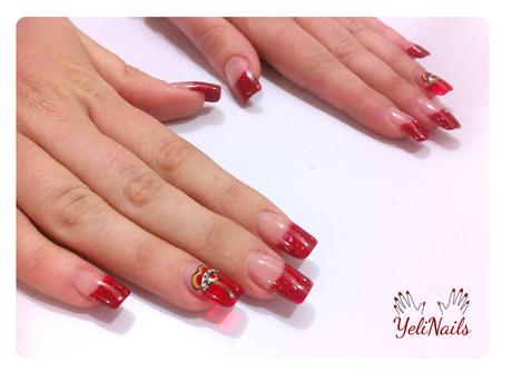 Uñas acrílico cristal en rojo / Nail art para San Valentín ...