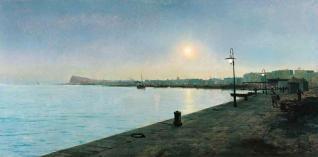 Una reproducción de la obra «El puerto de Barcelona» , óleo sobre lienzo.