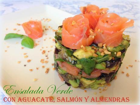 Ensalada verde con aguacate salm n y almendra crujiente la hoguera de las vanidades paperblog - Ensalada con salmon y aguacate ...