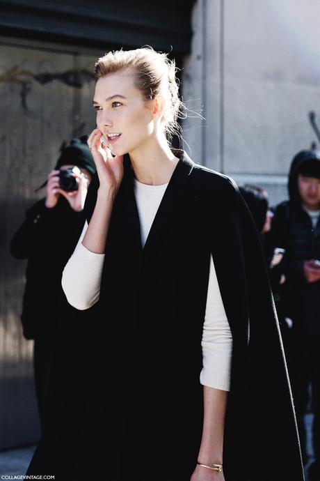New_York_Fashion_Week-Street_Style-Fall_Winter-2015-Stripes_Fur_Coat-White_Boots-Karlie_Kloss-Model_Cape-1